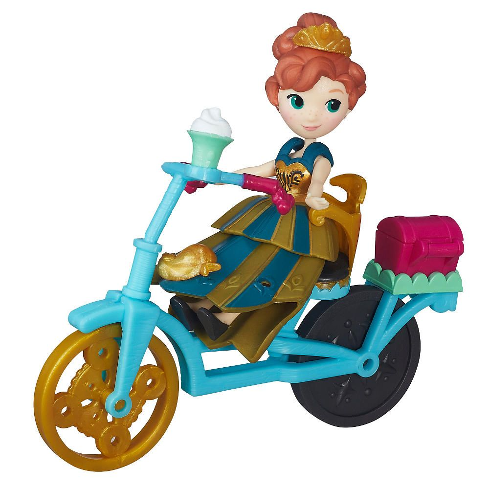 Disney Frozen Little Kingdom Anna Figure With Bicycle By Hasbro