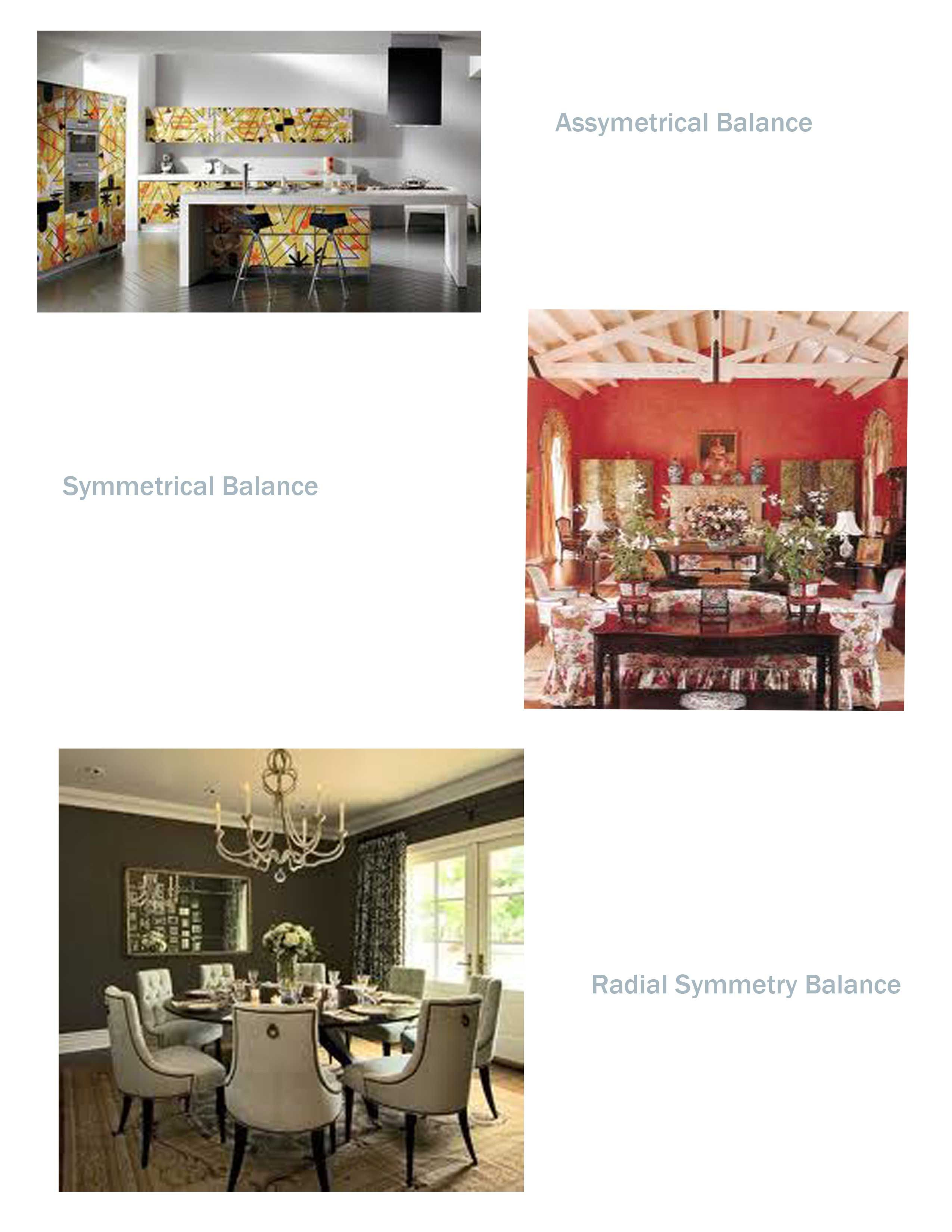 #fs4233 CA8-Symmetrical, Asymmetrical, & Radial Balance: Symmetrical balance is predictable and resurring design. Asymmetrical balance is often unsettling and erratic, but when done properly, it can be energetic and fun! Radial balance tends to promote togetherness and communication.