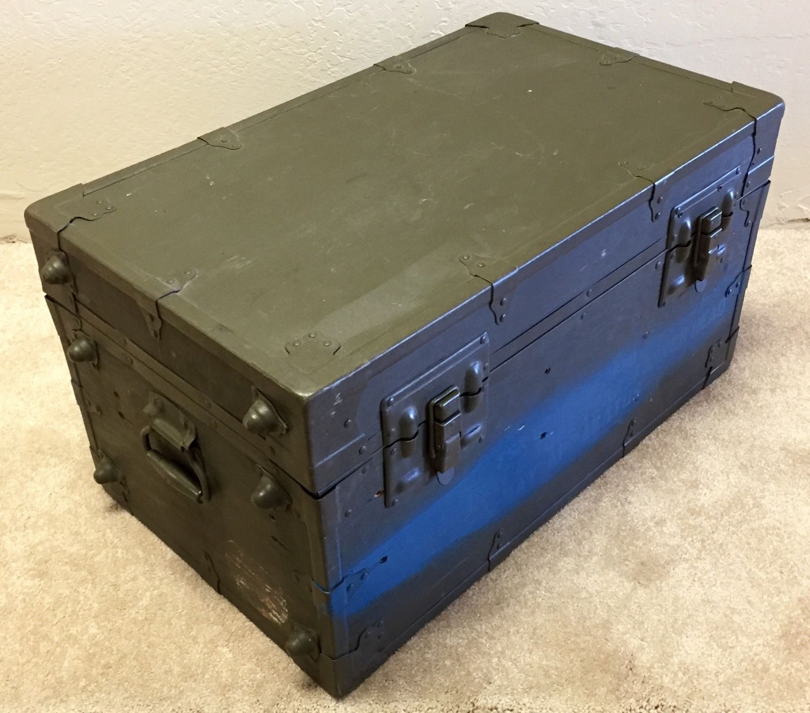 Foot Locker Storage Chest New Vintage Us Military Army Brown Xray Equipment Foot Locker Trunk Design Decoration