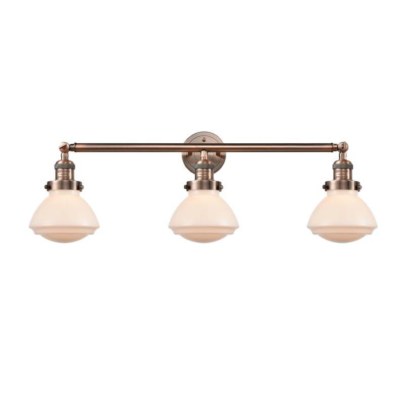 "Photo of Innovations Lighting 205 Olean Olean 3 Light 31 ""Wide Bathroom Vanity Light Antique Copper / Matt White Interior Lighting Bathroom Faucets Vanity"