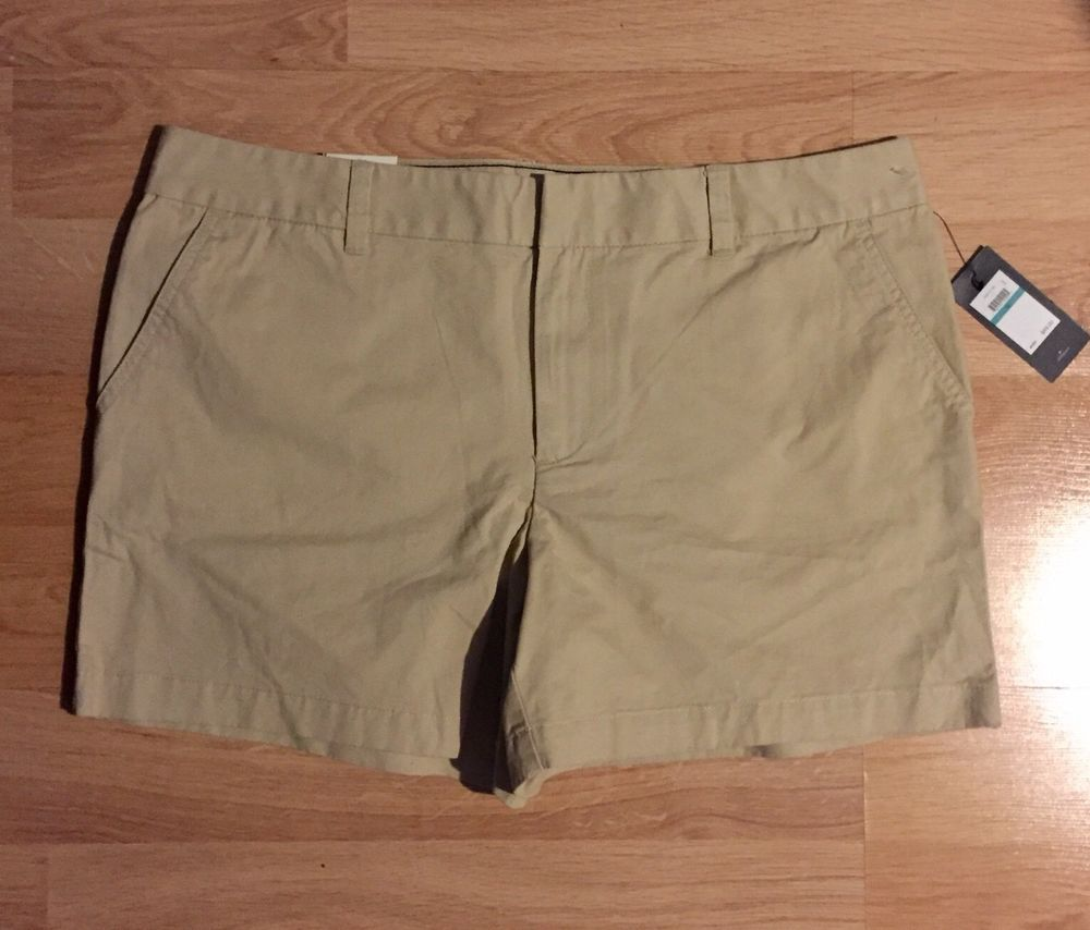 Tommy Hilfiger Womens Khaki Flat Front Shorts Size 4