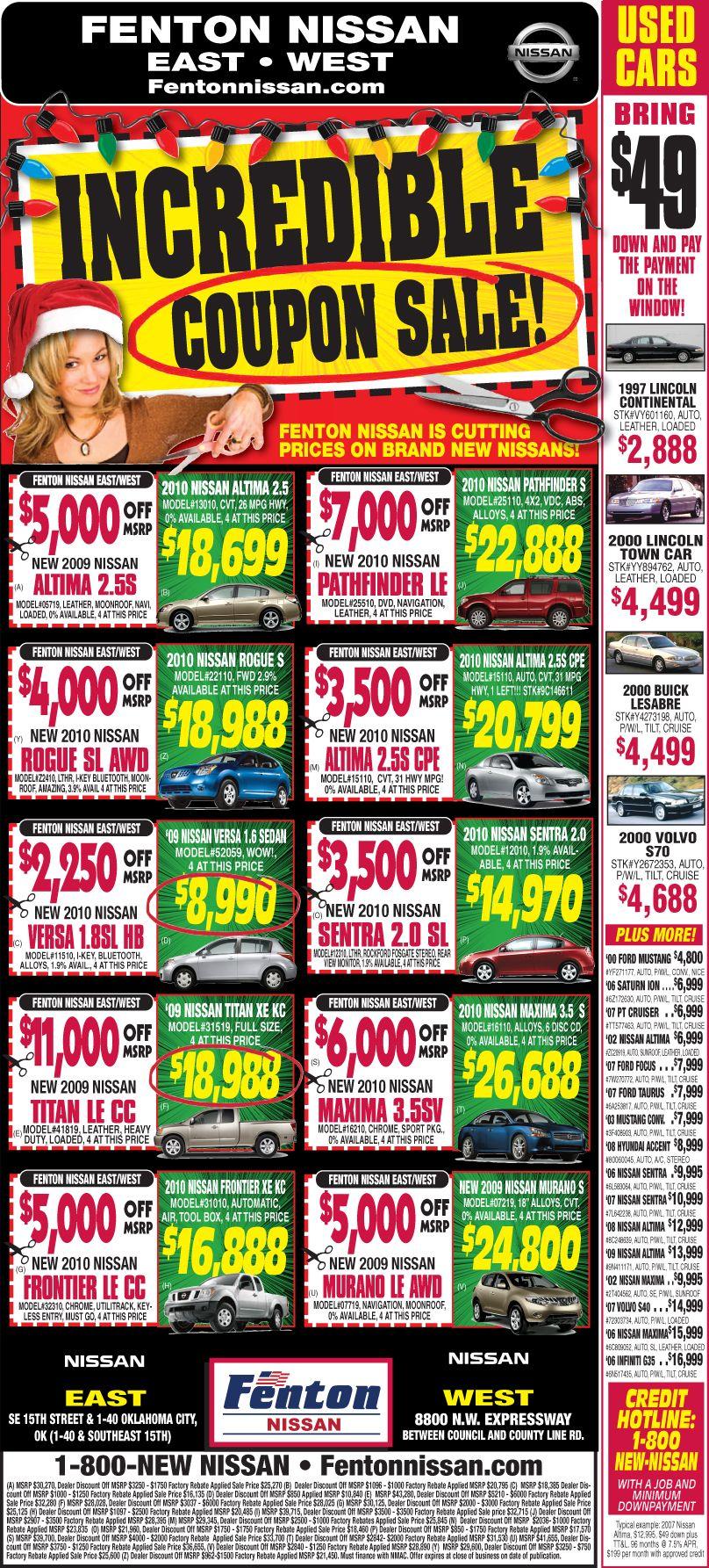 Coupon Sale Automotive Newspaper Layouts Pinterest Newspaper