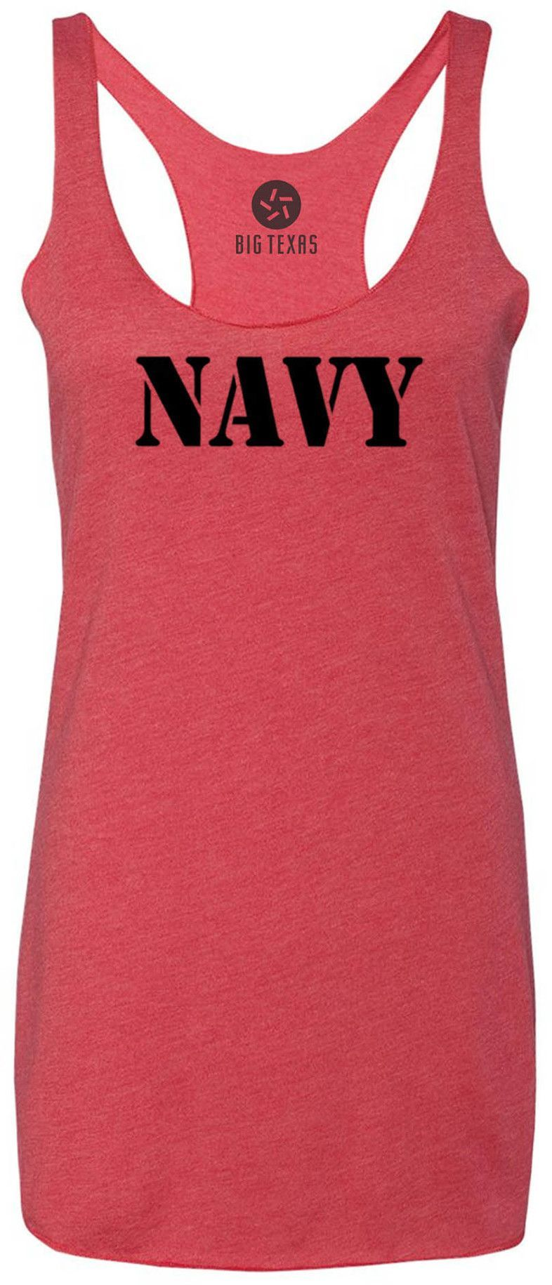 NAVY Stencil (Black) Tri-Blend Racerback Tank-Top