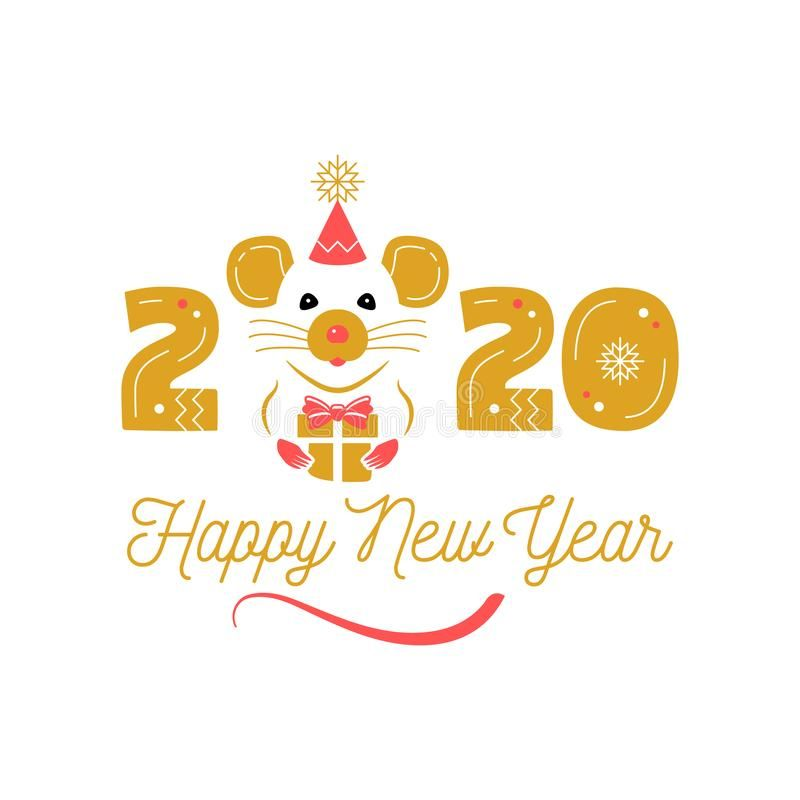 Year Of The Rat 2020 Chinese Zodiac Happy New Year Greeting Card Cute Rat And Date 2020 Y New Year Greeting Cards Happy New Year Greetings New Year Greetings