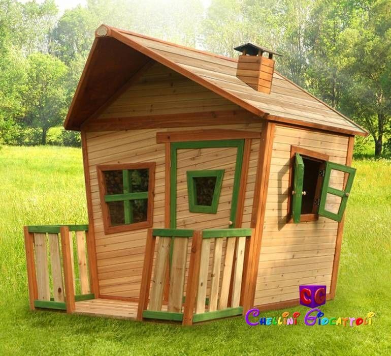 Bellissima casetta di legno per bambini, con verandina al