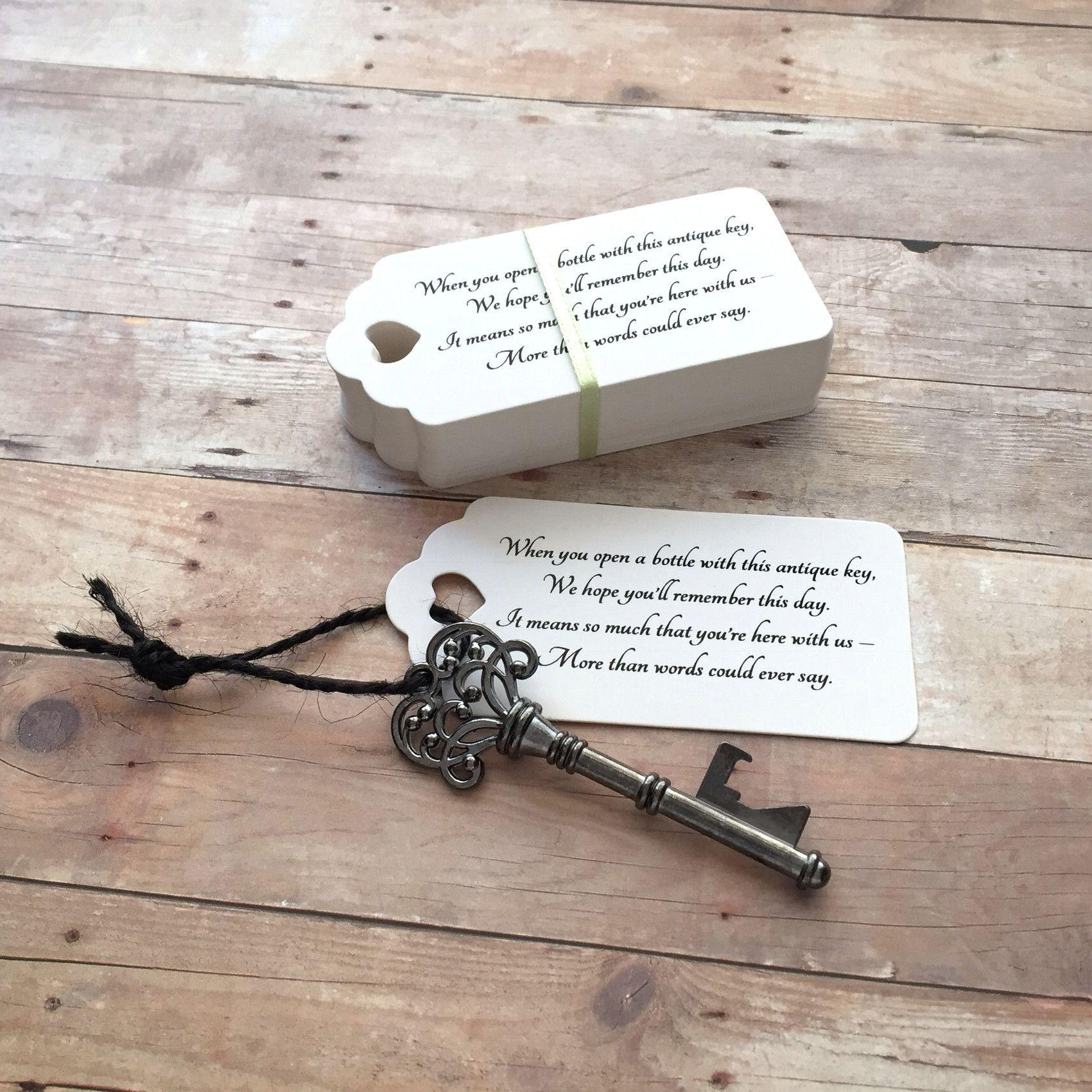 DIY Wedding Favors - Skeleton Key BOTTLE OPENERS + \