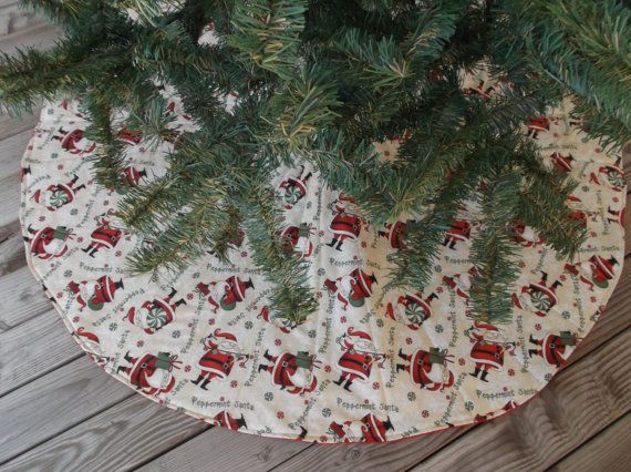 Santa Christmas tree skirt Christmas decor quilted by 3Jenerations - dollar general christmas decorations