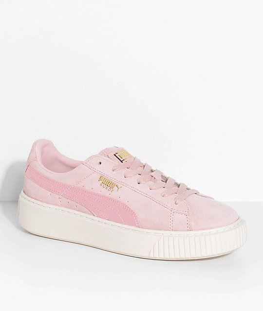 cc79d8261eb9 PUMA Suede Platform Mono Satin Pink Shoes