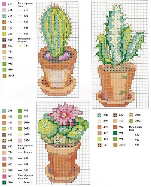 Punto croce - Schemi Gratis e Tutorial: Schema punto croce - vasetti con piante grasse e cactus in fiore
