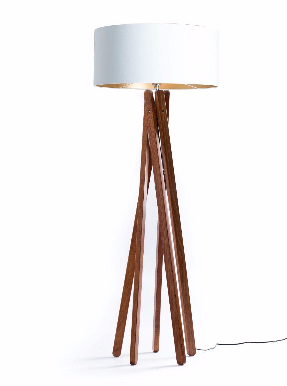 Tripod Stehleuchte Weiss Gold Holz Nussbaum Stativ Design Stehlampe