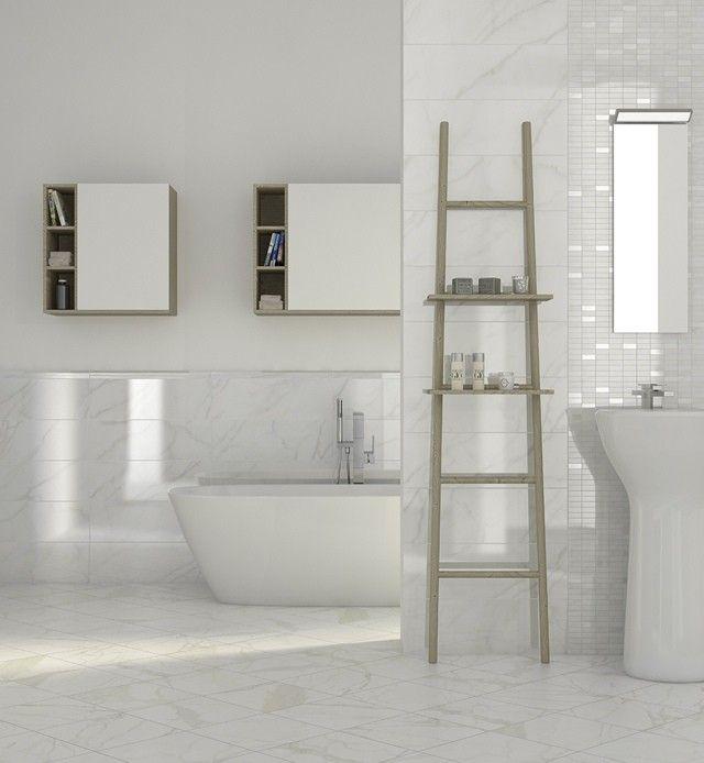 Uso del blanco perlado ba o cer micos pinterest los - Como colocar azulejos en el bano ...