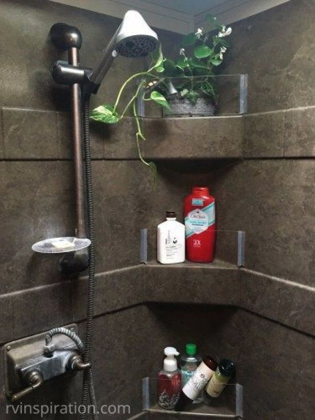 walls added to RV shower - bathroom storage idea for campers travel trailers and motorhomesPlexigla