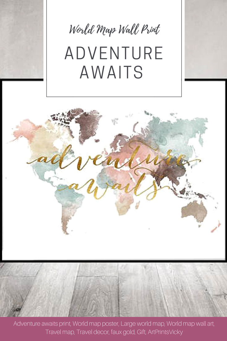 Adventure awaits print world map poster large world map world map adventure awaits print world map poster large world map world map wall art gumiabroncs Image collections