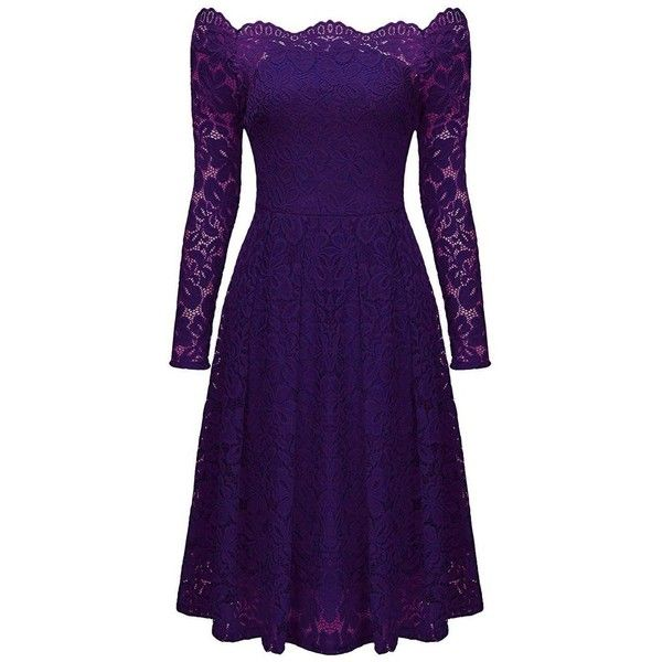 Purple Long Sleeve Floral Lace Boat Neck Cocktail Skater Dress (31 AUD) ❤ liked on Polyvore featuring dresses, evening dresses, floral skater dress, long-sleeve skater dresses, lace skater dress and lace dress