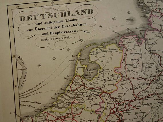 1859 antique railway highway map of germany poland holland old