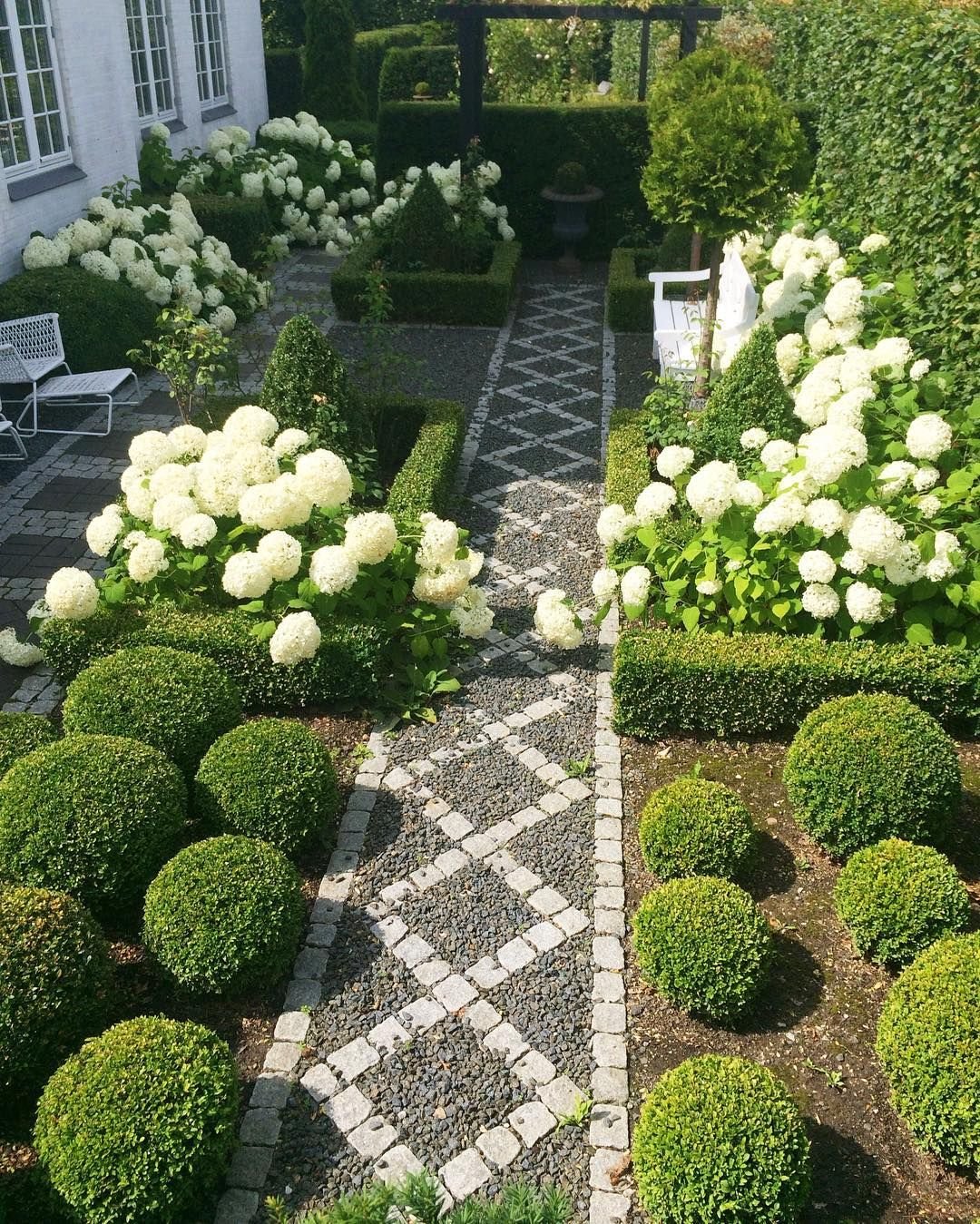 Marvelous Love The Stone And Gravel Pathway Through The Boxwood And Hydrangea Garden.  White And Green Garden And Landscaping Design Is ABSOLUTELY STUNNING!