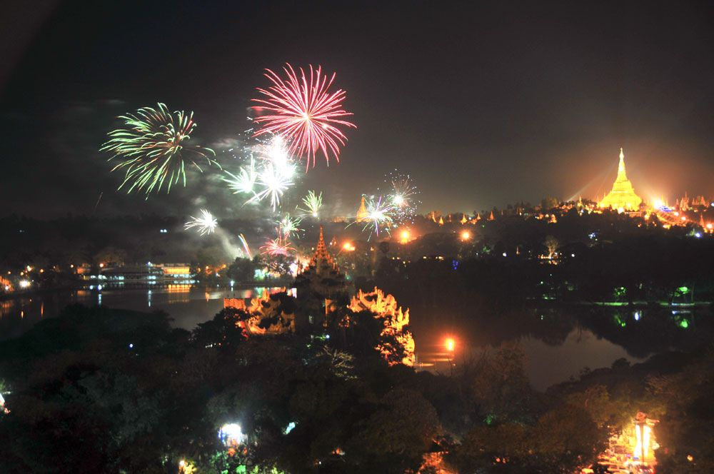 News Years Fireworks In Yangon Looks Across Kandawadgi Lake After