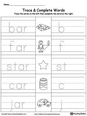 Ar Word Family Trace And Write Word Family Worksheets Kindergarten Word Families Word Families