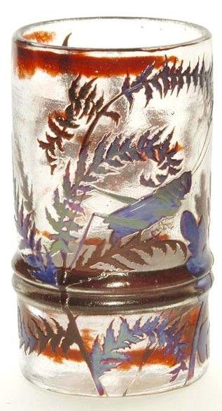 Galle Glass Vase Fern Leaf Grasshopper Multiple Color Clear