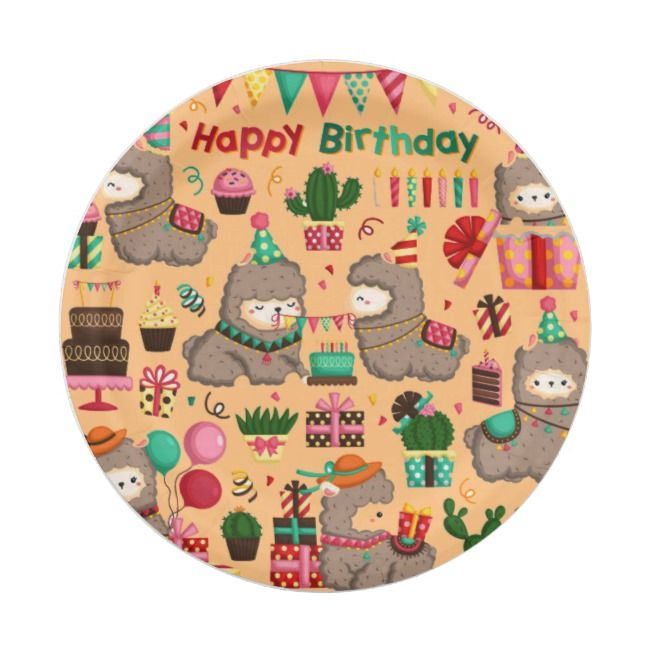 Happy Birthday Llama Pattern Paper Plate | Zazzle.com ...