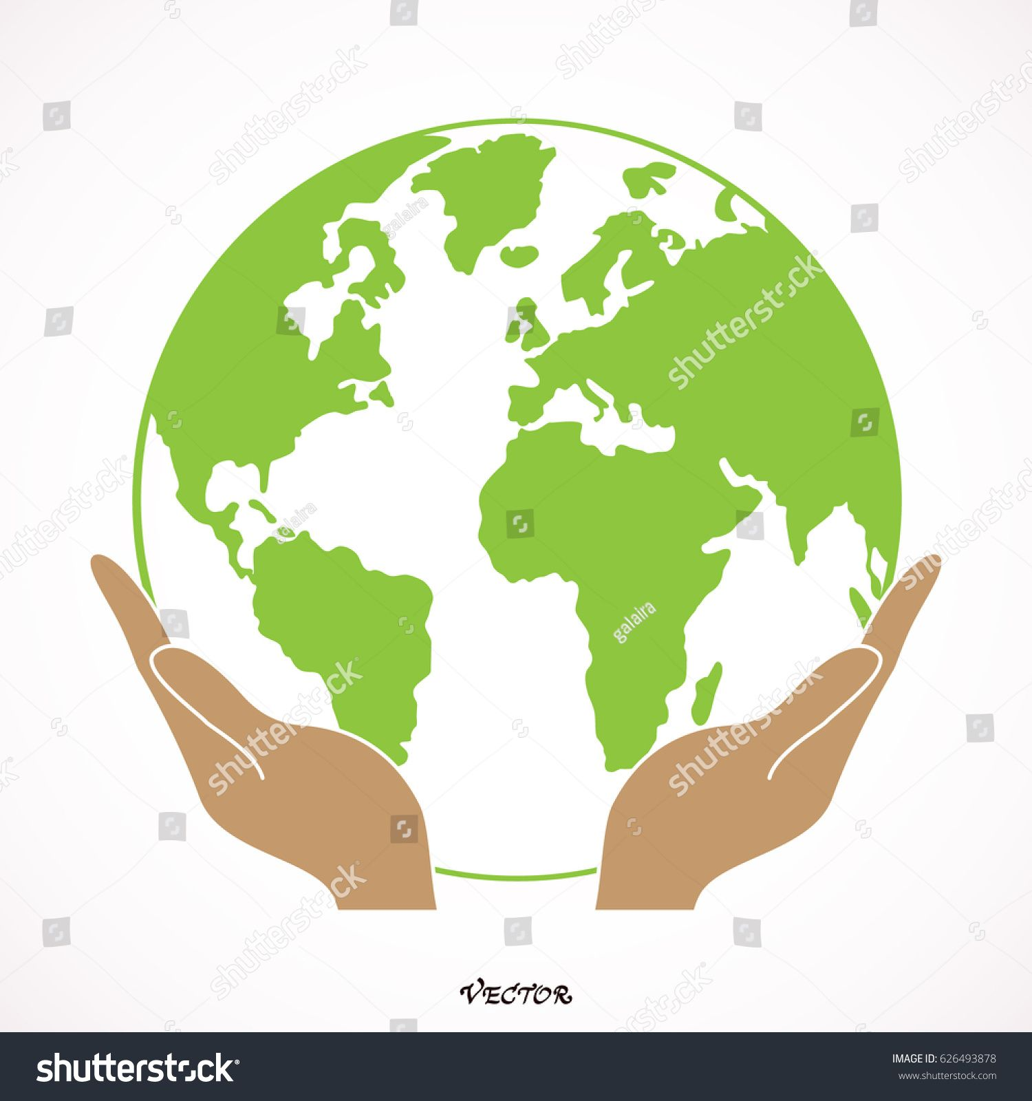 Two Open Hands Holding Globe Isolated Vector Colored Icon Open Hands Illustration Hands