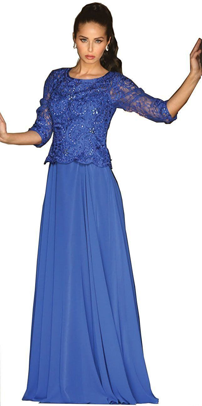 This Beautiful Mother Of The Bride Long Dress Comes With 3 4 Sleeve Lace Liques On Top And Pleated Chiffon Skirt Material