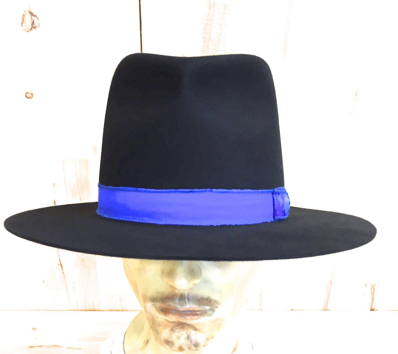 be21200285a 100% black beaver fur felt tall crown wide brim fedora hat with cobalt blue  silk