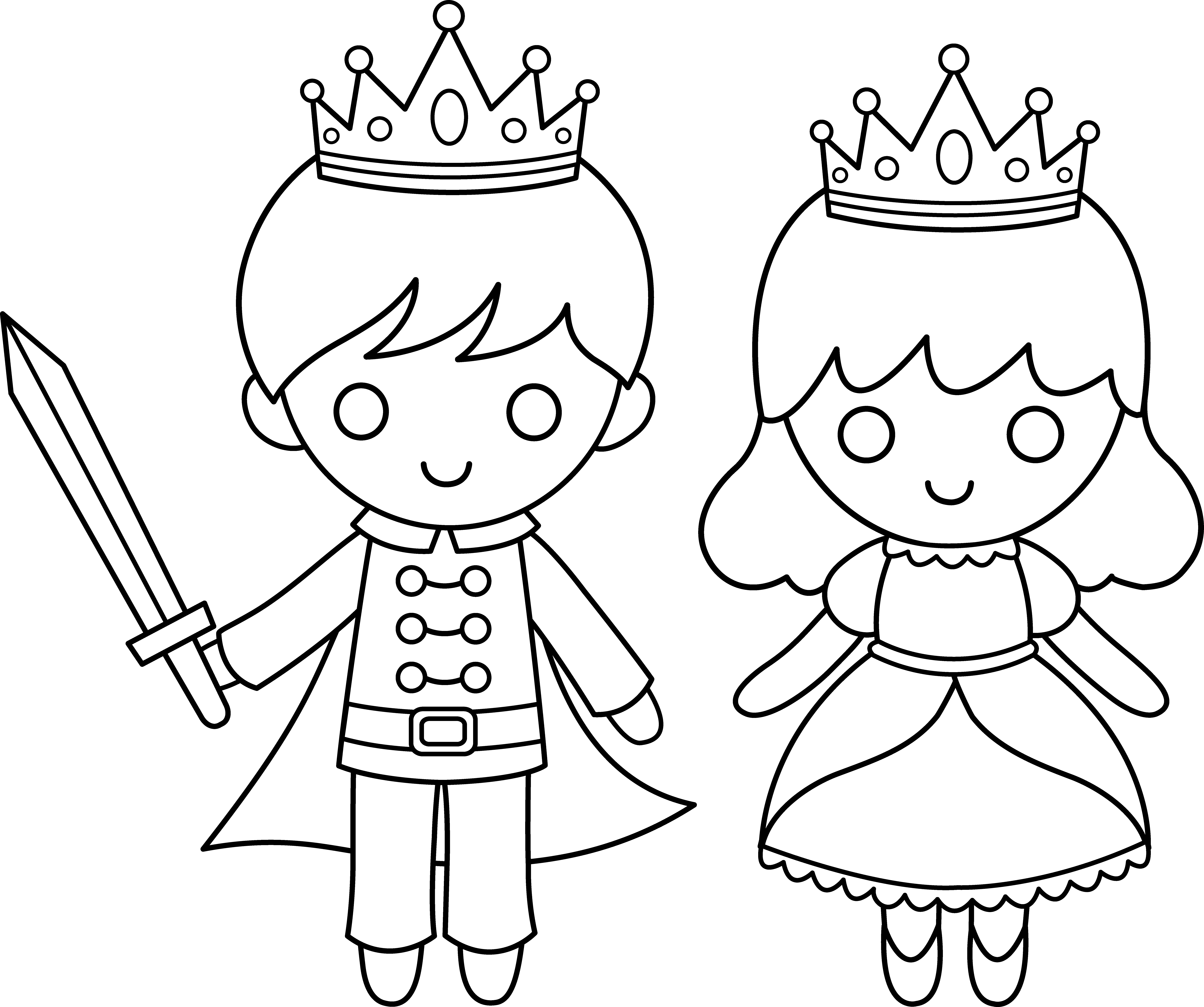 Prince and Princess Line Art Princess coloring pages