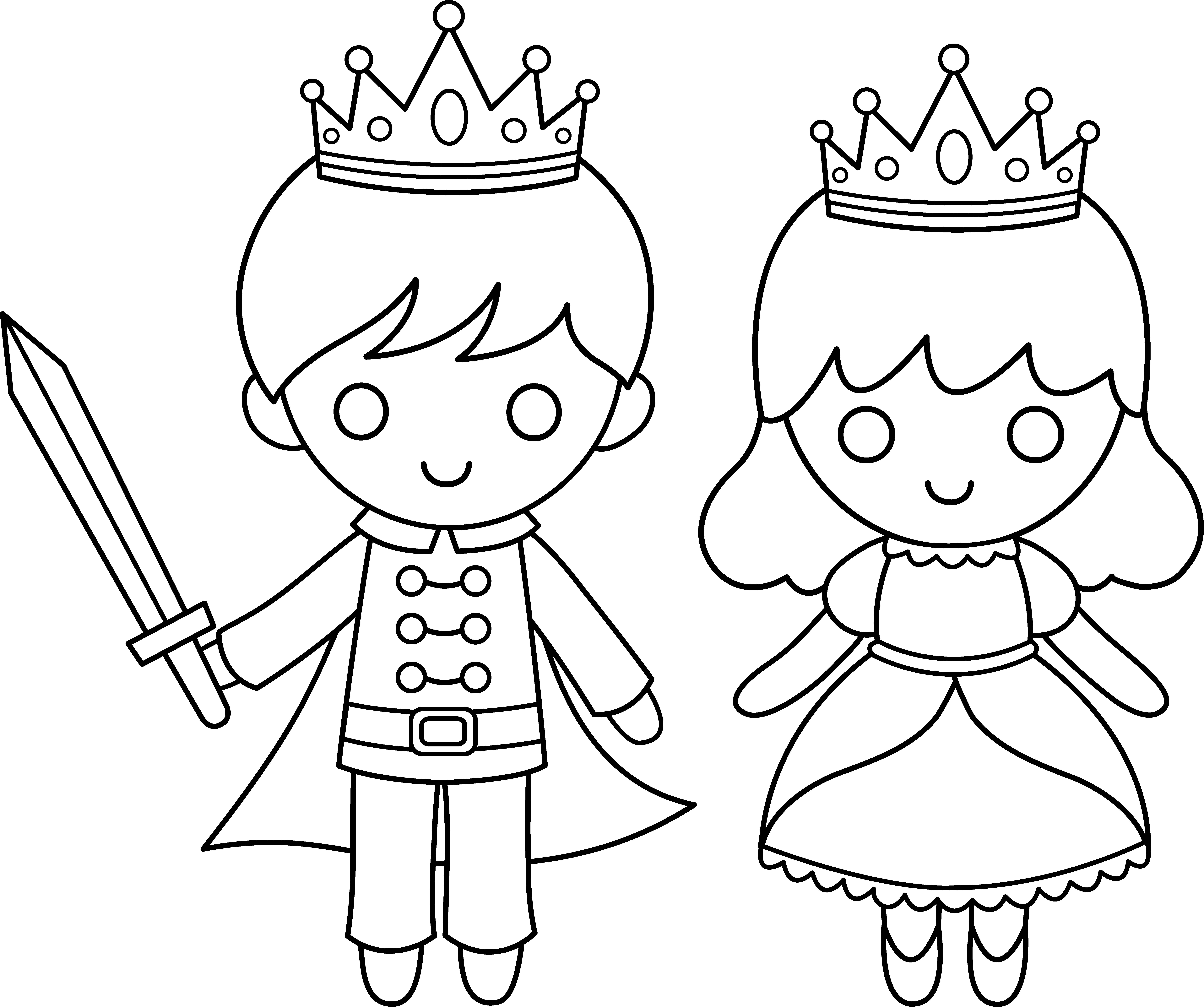 Prince And Princess Line Art