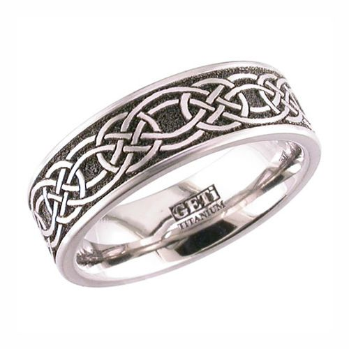 Flat Celtic Eternity Knot Titanium Wedding Ring Legacy Celtic