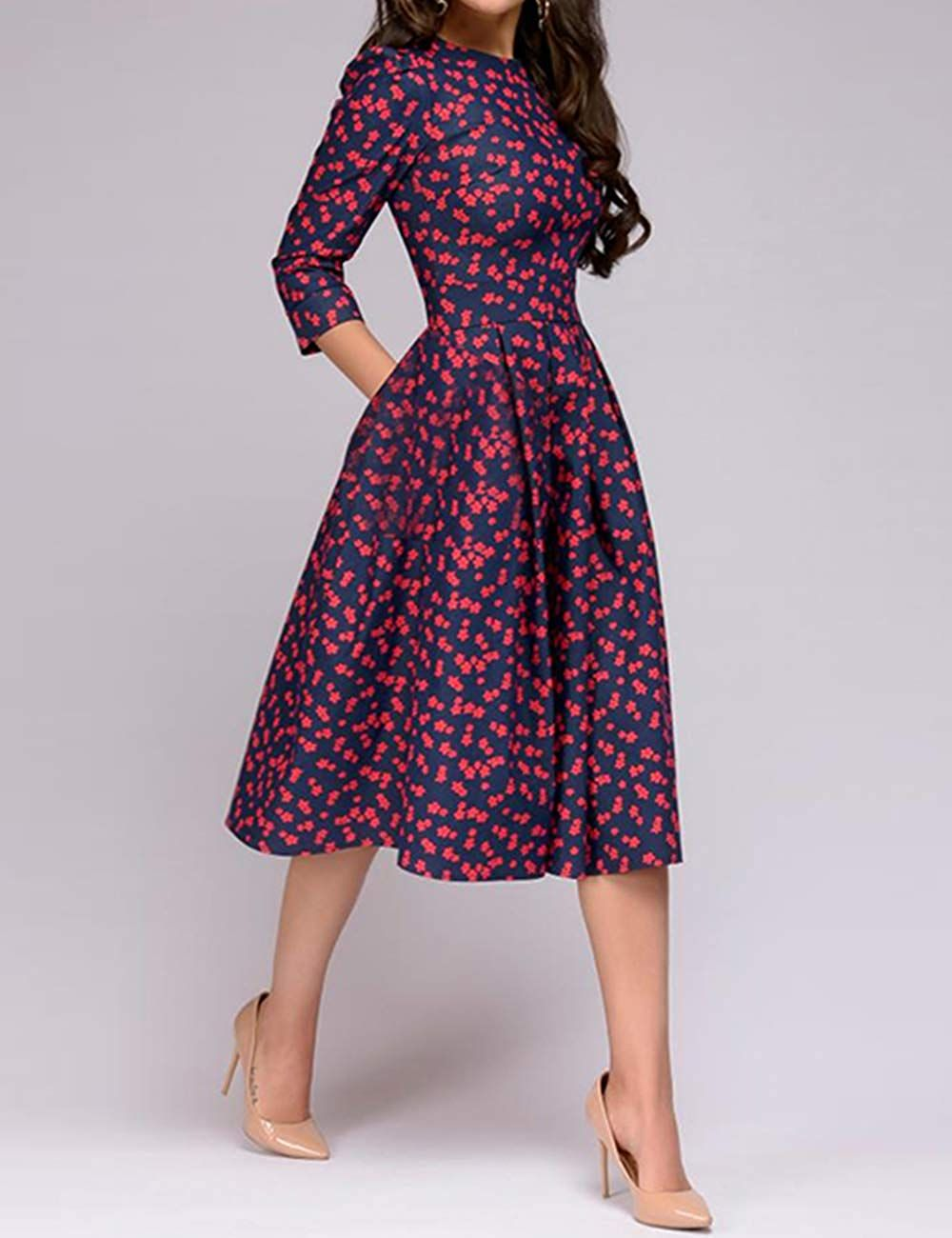 866bc205b23 Simple Flavor Women's Floral Vintage Dress Elegant Midi Evening Dress 3/4  Sleeves at Amazon Women's Clothing store: