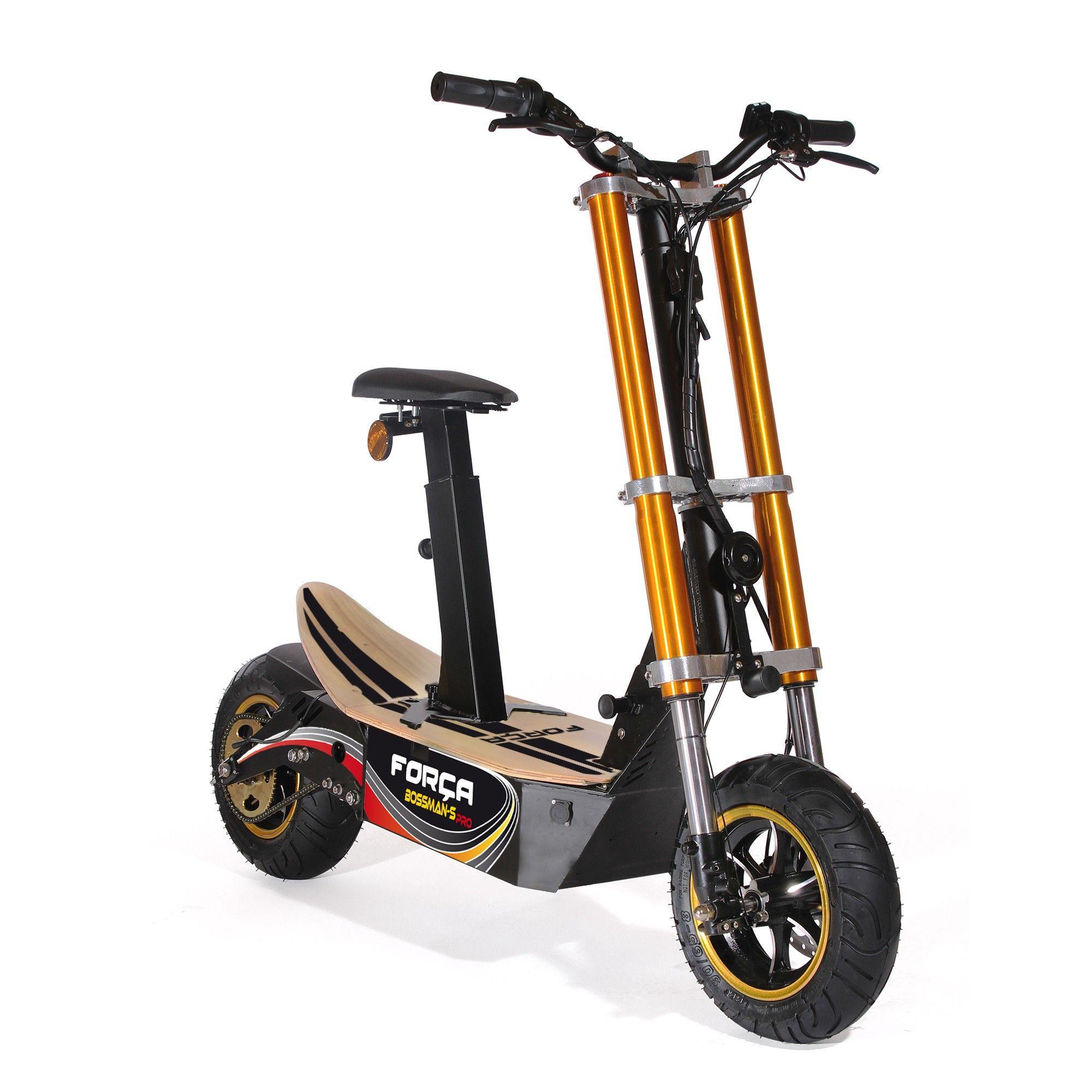 Forca Bossman S Elektro Scooter Mit 18ah Bleigel Akku 48 V 1500 W Strassenzulassung Eec 45km H Topspeed In Schwarz Gold Elektroroller Elektro Scooter Roller