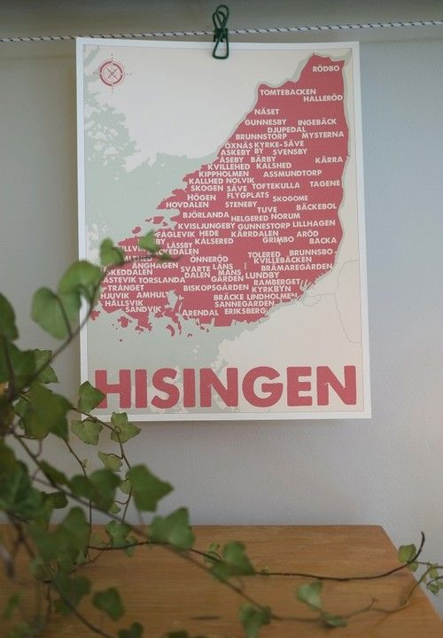 Karta Over Hisingen 30x40 Design Pop In Pop Design Karta
