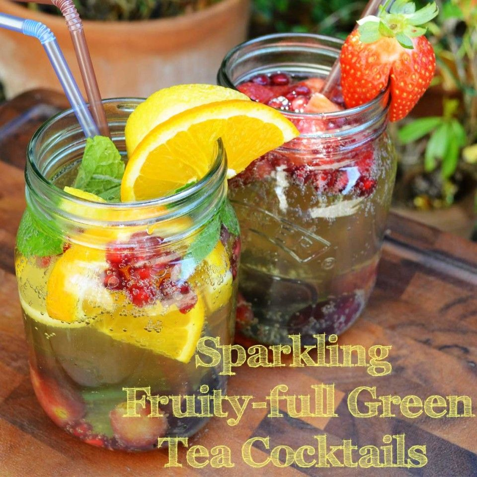 Sparkling Green Tea Cocktails (Virgin) - A sparkling way to drink your antioxidants on a hot day - there ain't nothing bad in these x