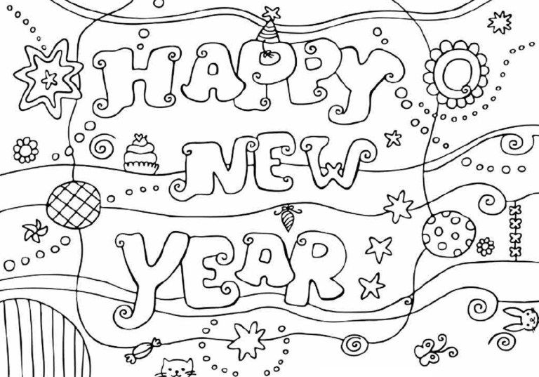 free printable happy new year  coloring pages #