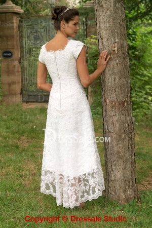 Asymettrical Lace Tea Length Wedding Dresses
