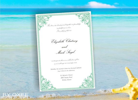 Printable Wedding invitation template Mint green victorian style by Oxee, DIY, Editable in Word, $8.00