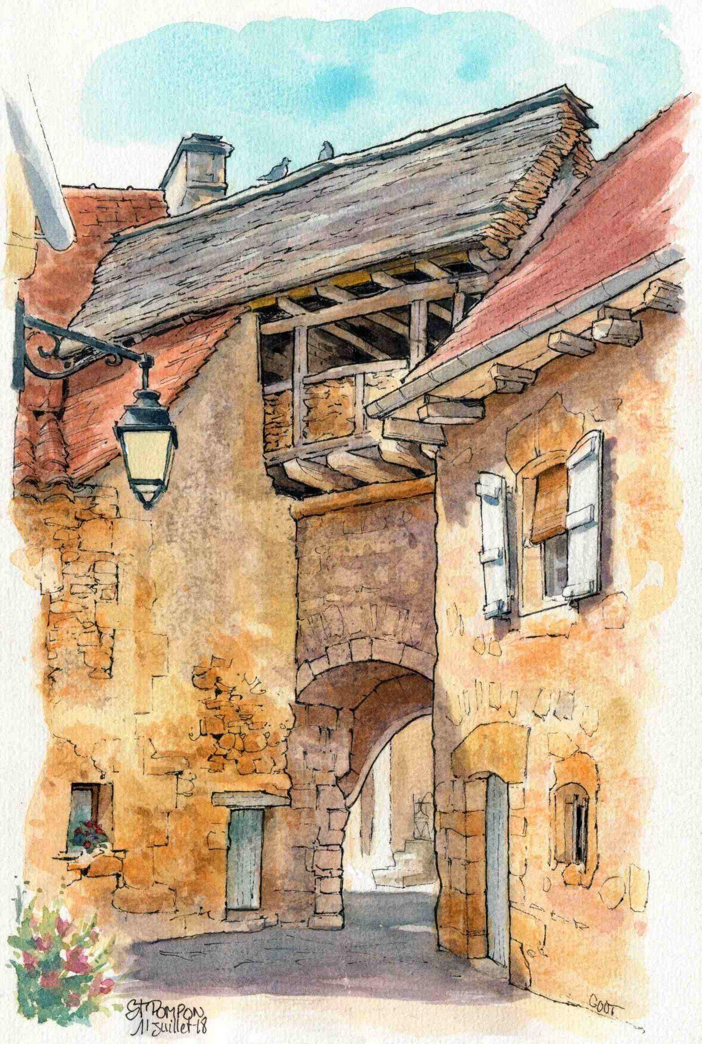 St Pompon Vestige Rempart In 2020 Watercolor Architecture