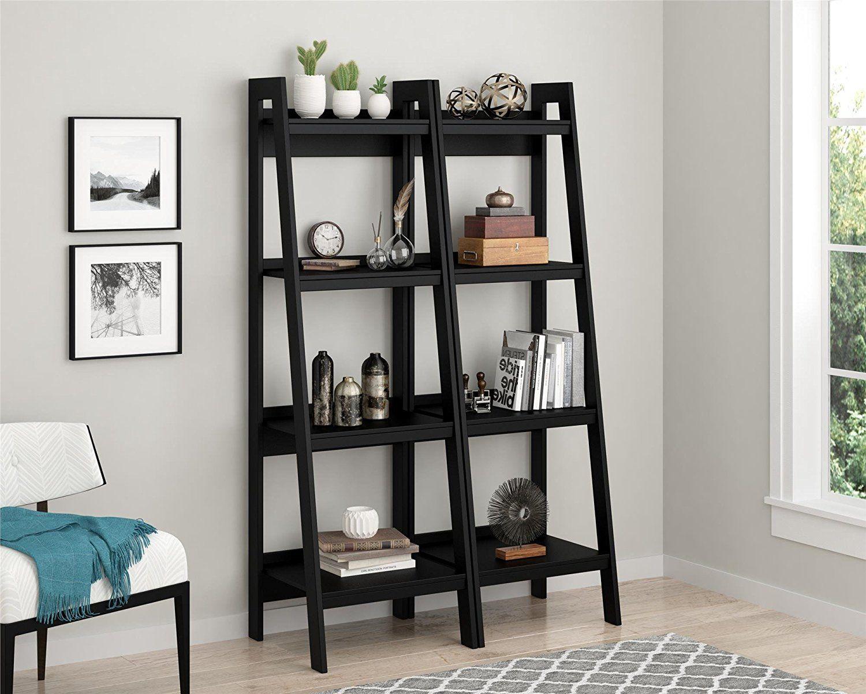Amazon altra lawrence shelf ladder bookcase bundle black