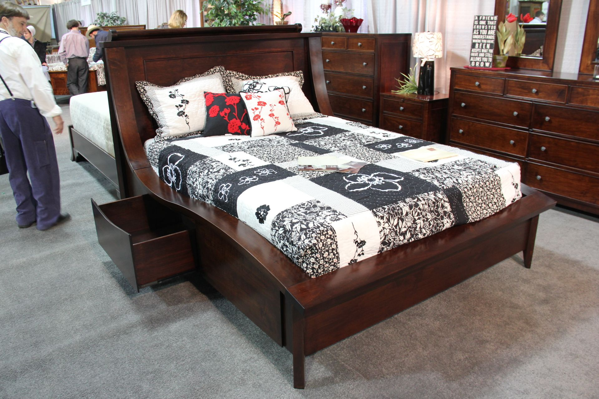 grand wooden bed frame with STORAGE Awesome GalleryFurniture