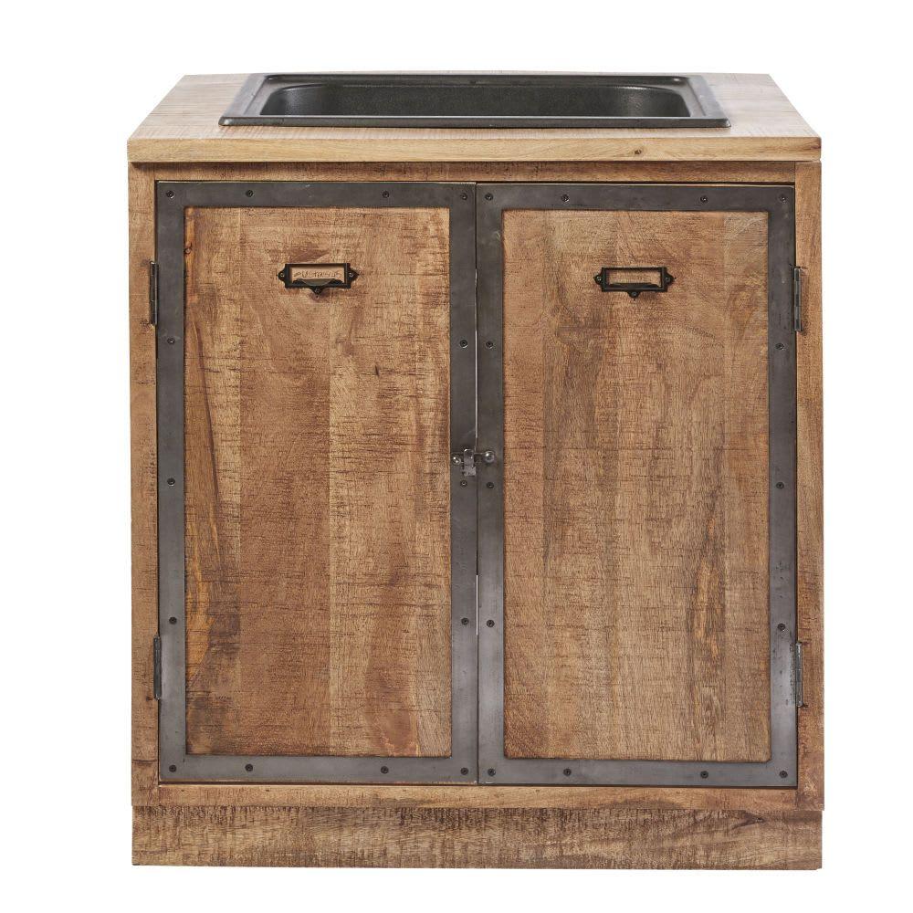 Küchenunterschrank mit Spülbecken und 20 Türen aus massivem