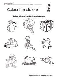 Color The Picture That Begins With J Worksheet Pre School Activity