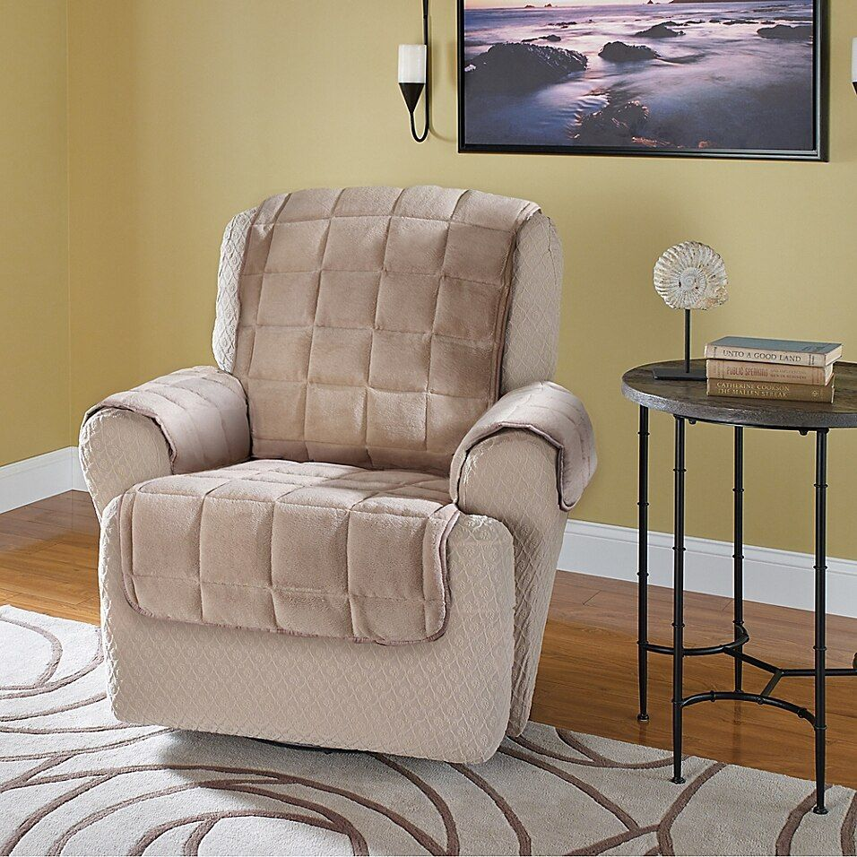Plush Recliner And Wingback Chair Protector In Cream