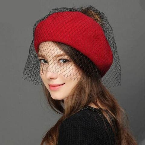 Fashion Wool Beret Hat With Veil For Women Winter Hairball Berets Wool Berets Beret Hat Hats