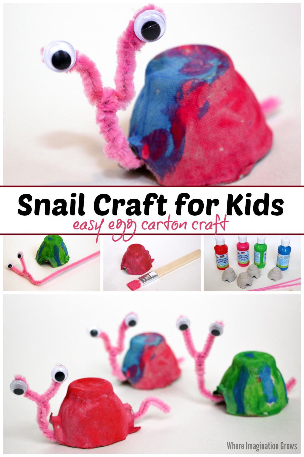 Recycled Egg Carton Snail Craft for Kids - Where Imagination Grows