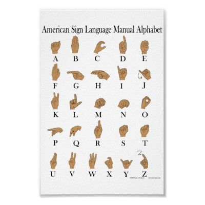 American Sign Language ASL Alphabet Poster from http://www.zazzle.com/art+posters