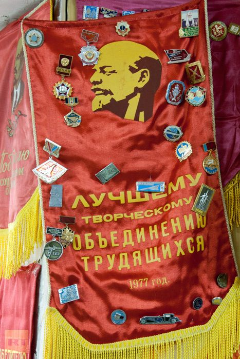 Back To The Ussr Emblems With Various Soviet Slogans And Symbols