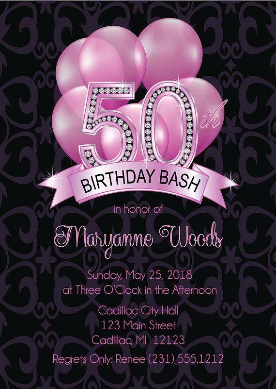 Balloons 50th Birthday Invitation