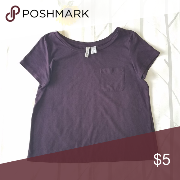 Free With Any Purchase H M Basic T Shirt Clothes Design Basic Tops Eggplant Purple