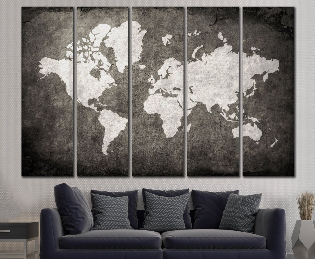 Large world map canvas print wall art 13 or 5 panel art extra large world map canvas print wall art 13 or 5 panel art extra gumiabroncs Images